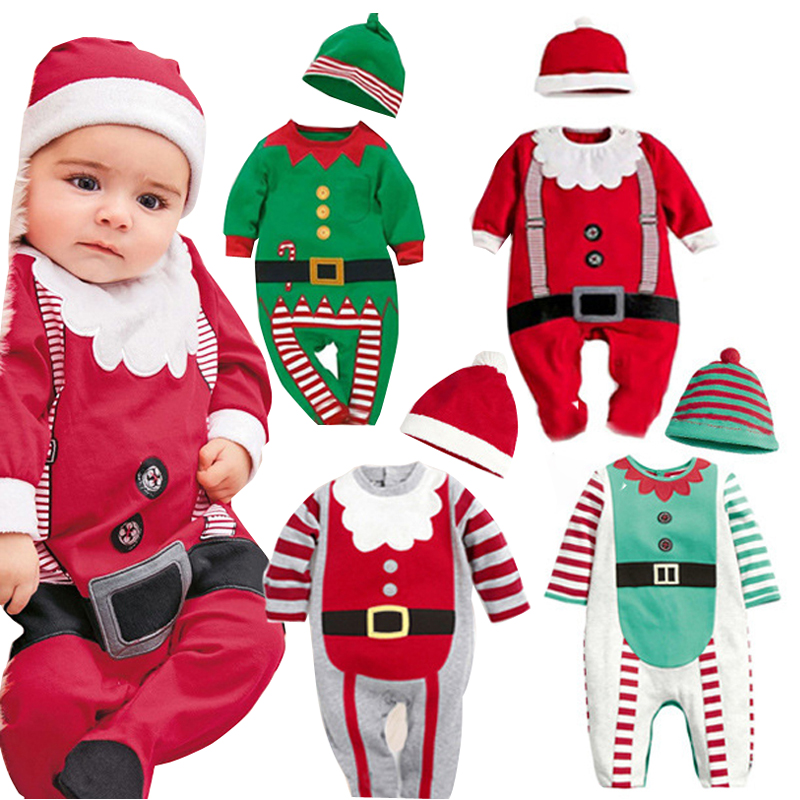 Baby rompers One-piece Costumes 2pcs Romper+hat baby Christmas gift kids Santa Claus clothes newborn baby clothes jumpsuit wear(China (Mainland))