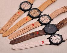 Recién llegado de japón relojes de pulsera de cuarzo con cuero genuino de bambú de madera relojes para hombres y mujeres regalos de la navidad