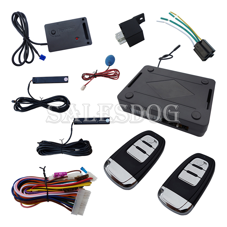 New Universal PKE Car Alarm System Remote Start Stop Remote Trunk Release Hopping Code & Auto Re-arm With Shock Sensor(China (Mainland))