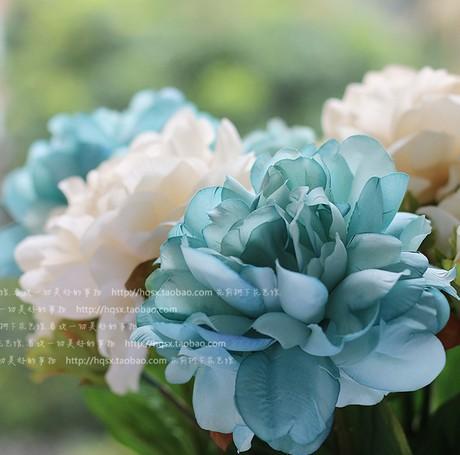 6 pcs lot 1 pc bouquet wholesale real touch aitificial flower large blue decorative peony. Black Bedroom Furniture Sets. Home Design Ideas