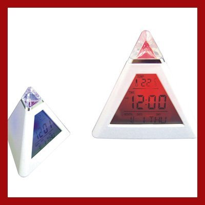 free shipment LED 7 color changing Triangle Pyramid music Alarm Clock Mood LCD Calendar Table Clock Gift Clock