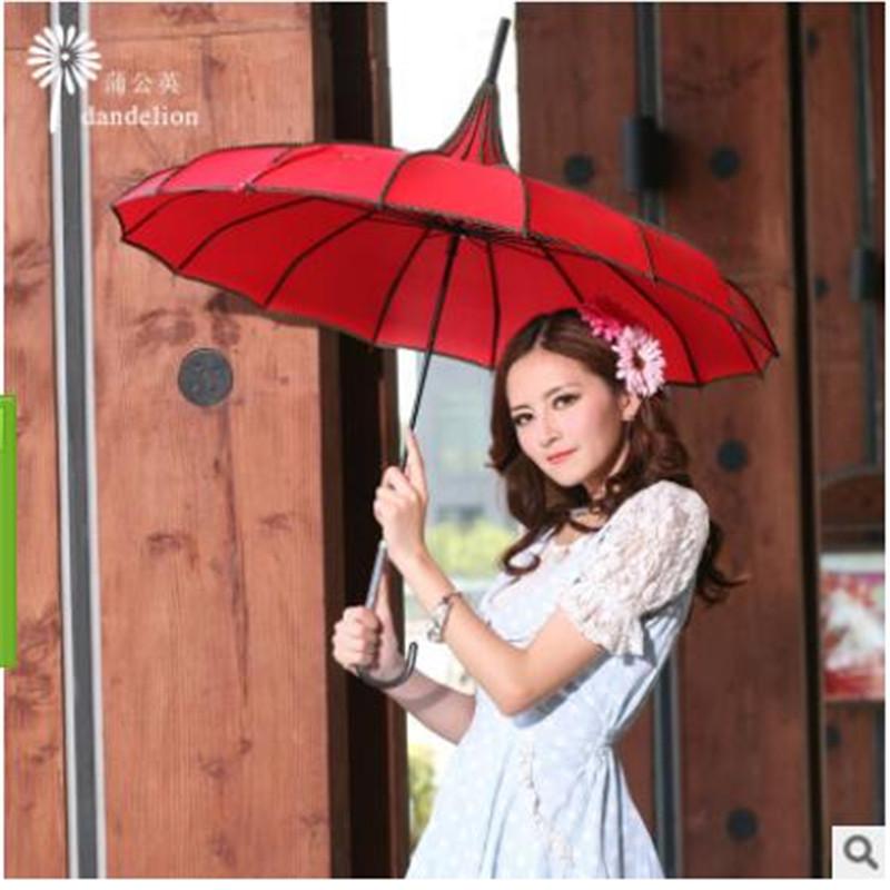 Free shipping 2016 new fashion princess Korean pagoda sunny umbrella skillet creative umbrella Straight umbrella UV cute(China (Mainland))