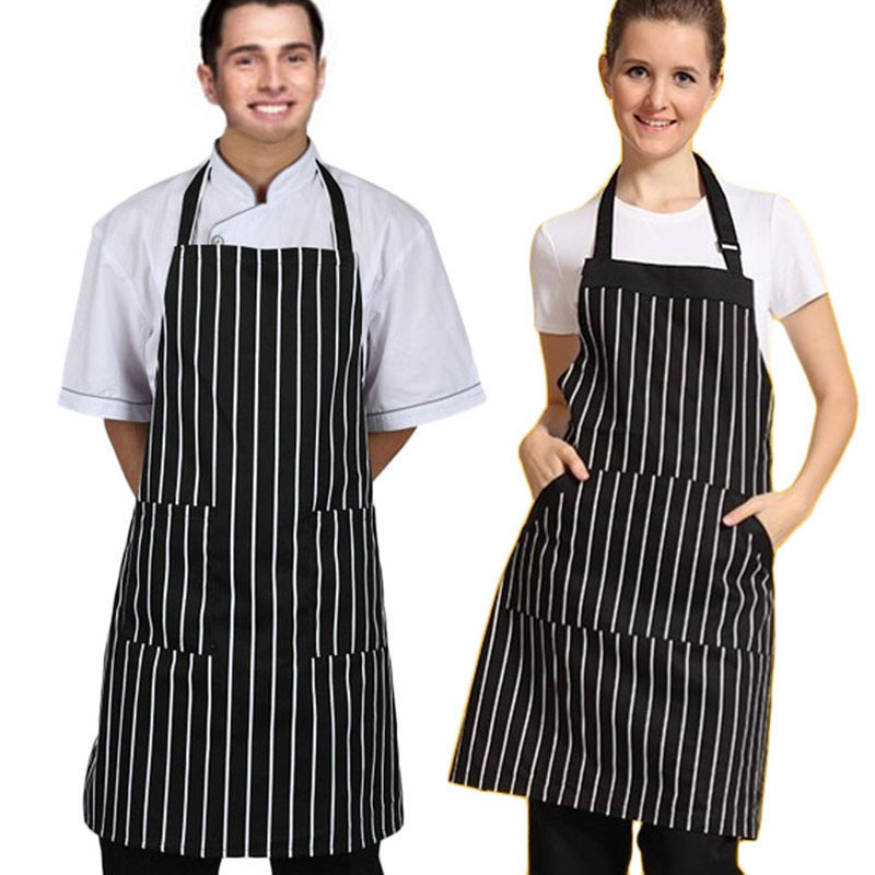 2015 New Apron Adjustable Polyester Black Stripe Bib Apron With 2 Pockets Chef Kitchen Cook Tool Brand New and high quality#0(China (Mainland))