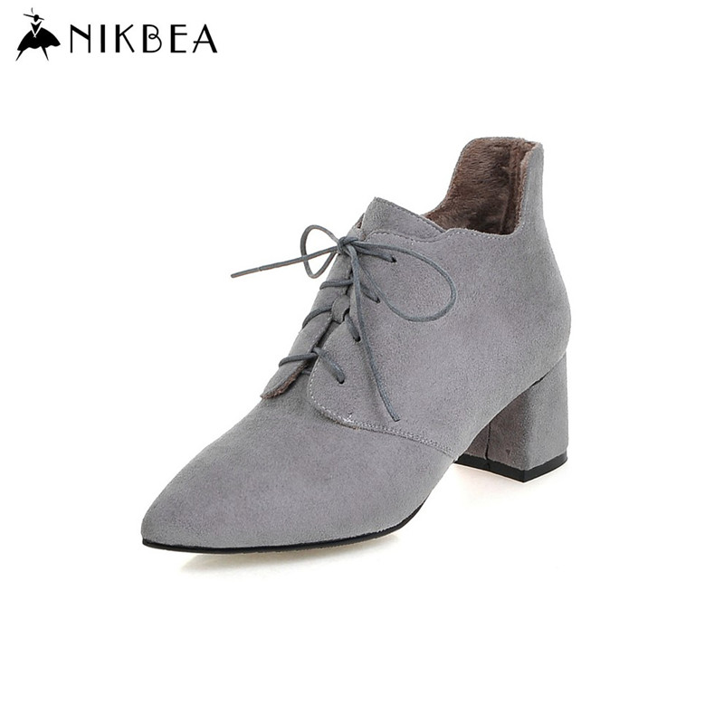 2016 Nikbea Ankle Boots Women Suede Winter Boots Large Size Lace Up Women Brand Boots Autumn Chunky Heel Ladies Booties Leather(China (Mainland))
