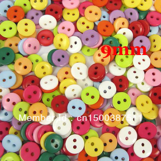 Free shipping 500 Pcs Random Mixed Resin Sewing Buttons Scrapbooking 9x2mm Knopf Bouton W01363 X 1
