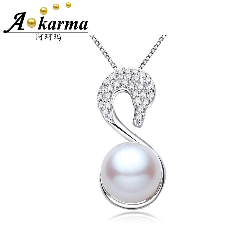 Akarma Necklaces Pendants 925 Sterling Silver Jewelry Natural Freshwater Pearl Bijoux Swan Statement Necklace Women Summer Style