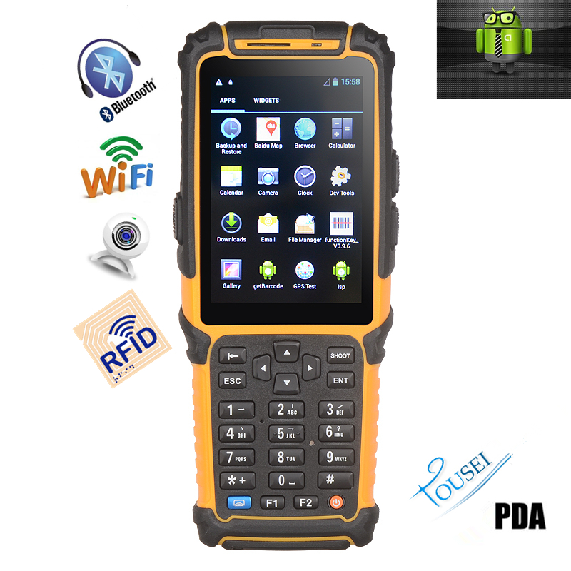 Handheld pda android pos wireless rfid reader gsm 3g mobile phone scanner TS-901,with 1.5m fall resistance(China (Mainland))
