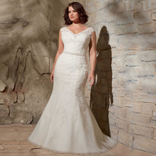 Mermaid Wedding Dress – Plus Size V Neck with Lace And Beads
