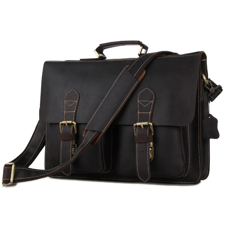 New Handmade 100% Real Genuine Leather Dark Brown Men's Messenger Shoulder Bag Briefcase Laptop Notebook Handbags Business Cases(China (Mainland))