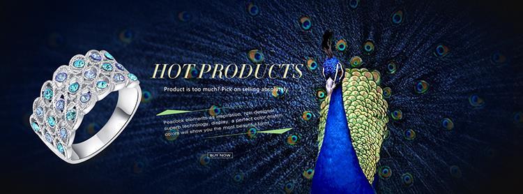 אופנה אלגנטית 18K זהב אמיתי מצופה SWA אלמנטים האוסטרי קריסטל כחול פריחת השזיף טבעת פרח משלוח חינם #2010285490
