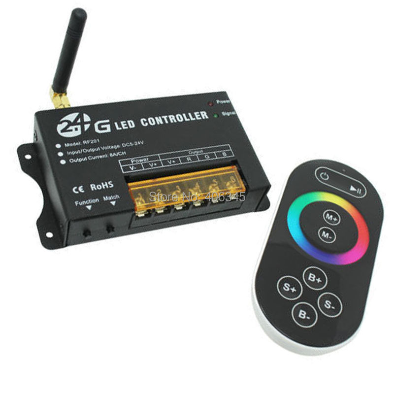 DC5-24V RGB touch screen RF universal remote control for RGB led strip/module/bulb/downlight 2.4G led controller(China (Mainland))