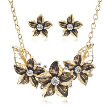 Enamel Flower Jewelry Set
