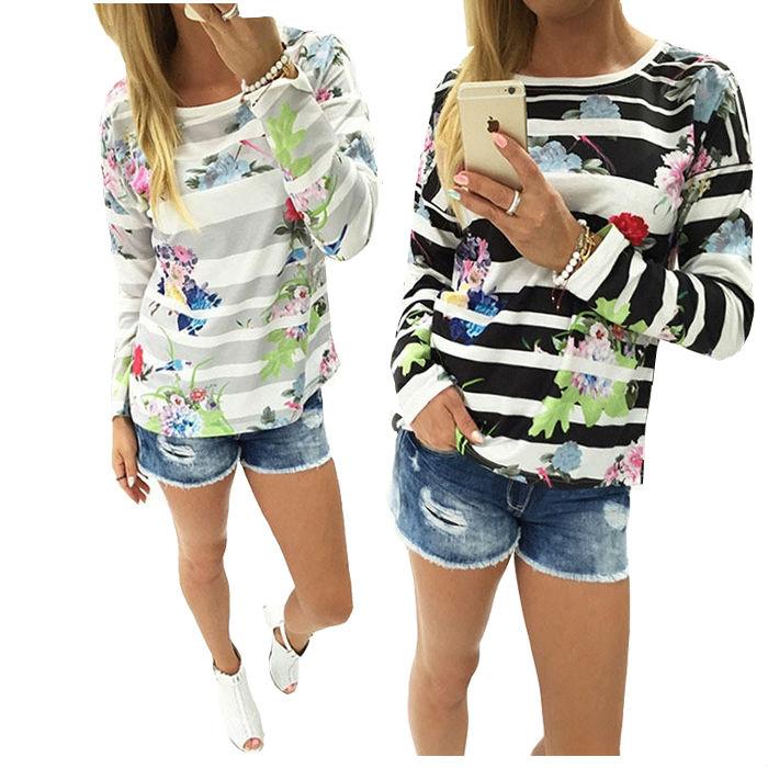 2016 Autumn Womens Hoodies Top Designer Sweatshirt Fashion Stripe Flower Printed Hoodie Fashion Tartan Clothing Long Sleeve(China (Mainland))