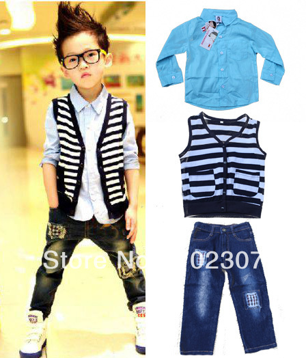 wholesale free shipping  cool boys Autumn  suits 3pcs set vest+shirt+jeans childrens Clothes 9879<br><br>Aliexpress