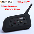 New Version V6C 1200M Motorcycle Bluetooth Helmet Intercom Full Duplex for 6 riders BT Wireless motocicleta