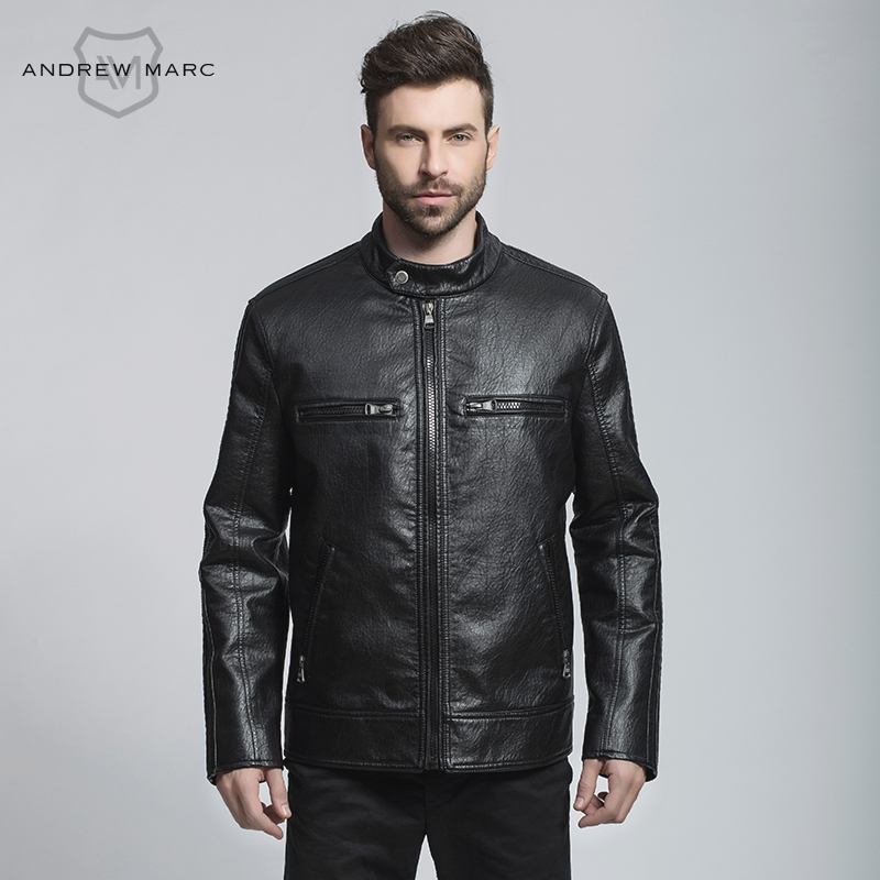 ANDREW MARC MNY 2016 Autumn Men PU Leather Jacket Coat Stand Collar Slim Fashion Casual Overcoat Man TM6AP157(China (Mainland))