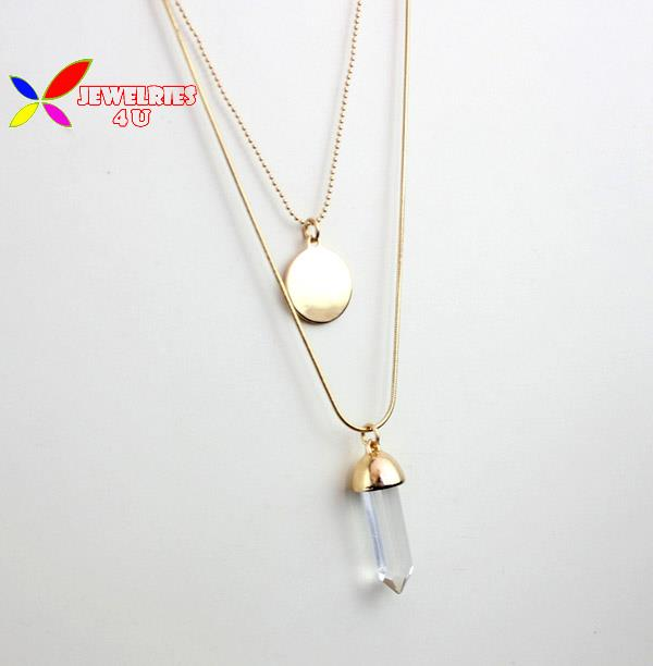 2015 christmas gifts fashion double layers gold snake chain Korea glass pendant costume sweater chain necklace for women(China (Mainland))