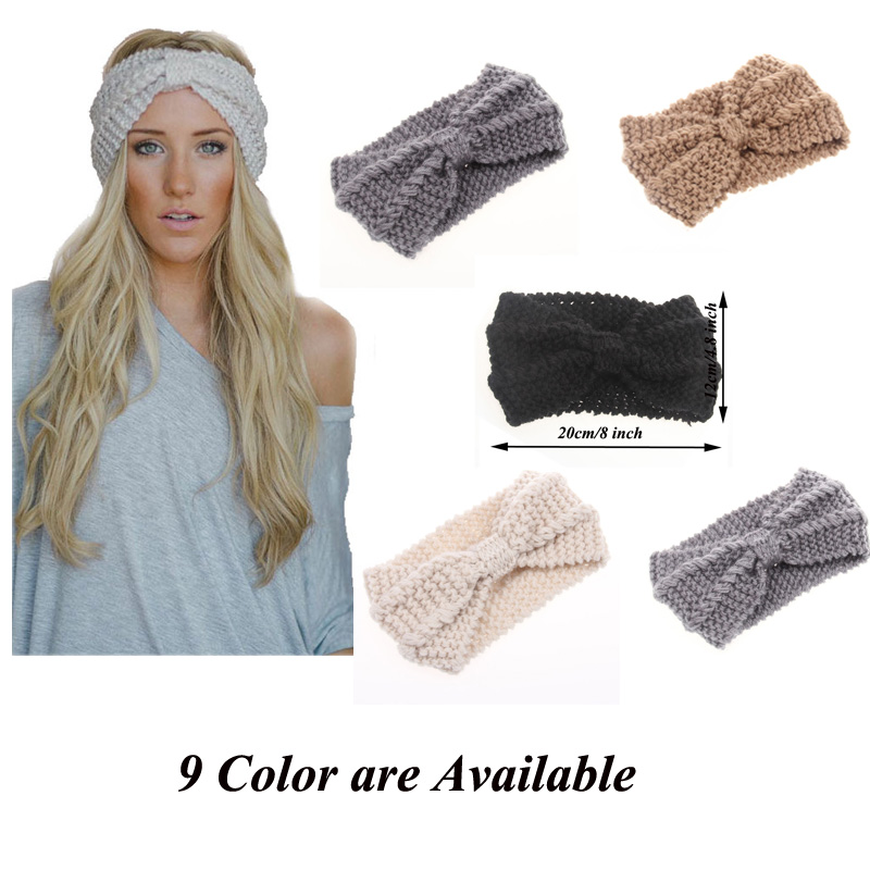 New Fashion Solid Wool Knitting Warm Crochet Bow Headband For Lady Women Hair Hoop Hair Accessories Headwear(China (Mainland))
