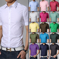good quality 2016 famous brand solid men short sleeve shirt 17 colors slim fit social shirt