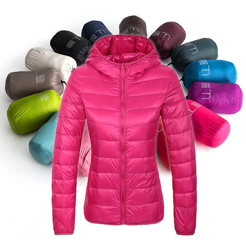 2016 Winter down parka Women warm coats thin White Duck down Solid Slim Autumn womens down jackets hooded Brand Black Red XXXL