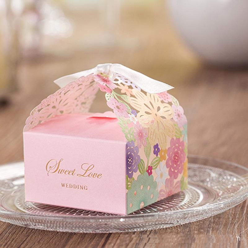 10pcs/set Floral Wedding gift hollow sugar boxes 2016 creative Bag Wedding Candy, high quality paper FERRERO ROCHER save box(China (Mainland))