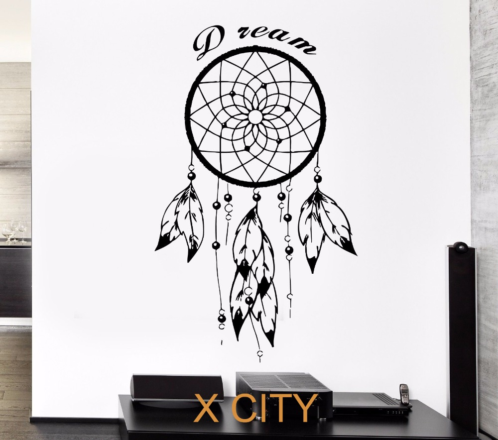 Black wall decal dreamcatcher native american indian quote for Black wall mural