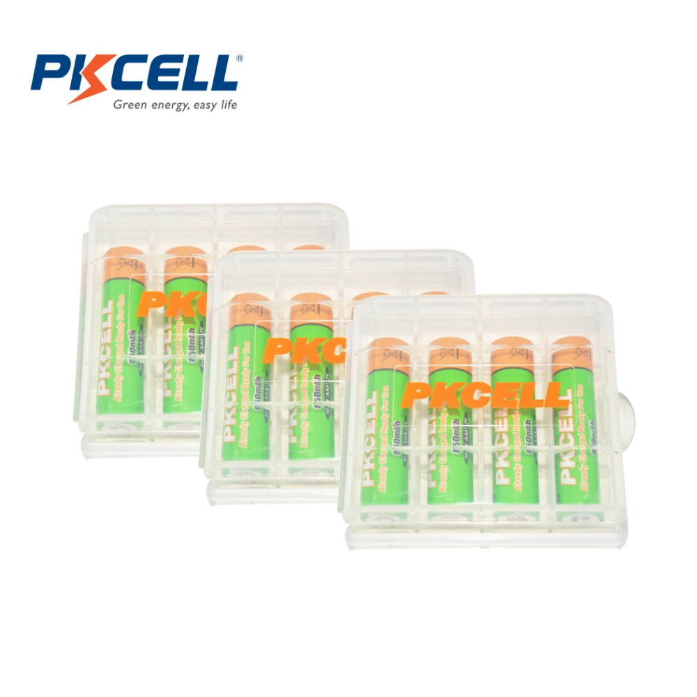 12 X PKCELL Ni-MH Low Self-Discharge 850mAh AAA Rechargeable Battery with 3 Battery Hold Case box<br><br>Aliexpress