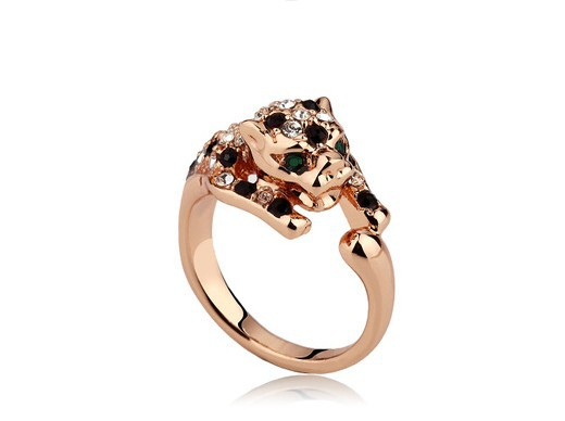 Leopard 18K Champagne Gold Plated Ring Made Genuine SWA ELEMENTS Crystals Austria - Shenzhen Sun Jewelry International Co.,Ltd store