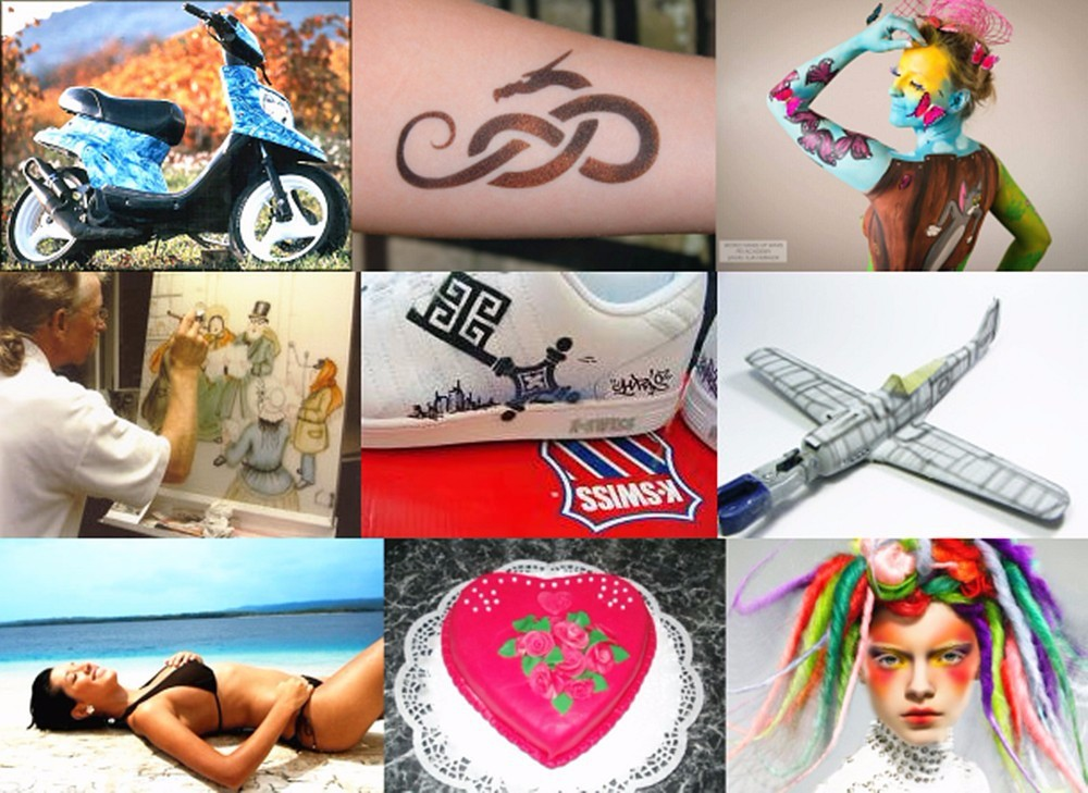 Airbrush compressor air brush kit spray tattoo nail art for Airbrush tattoo paint