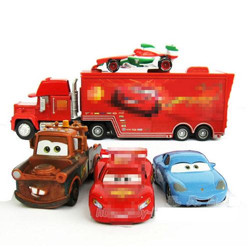 5 Pieces/set 100% Original 1:55 Pixar Movie Cars diecast toy figure mack truck + No.95 red car+ mater+ sally + francesco(China (Mainland))