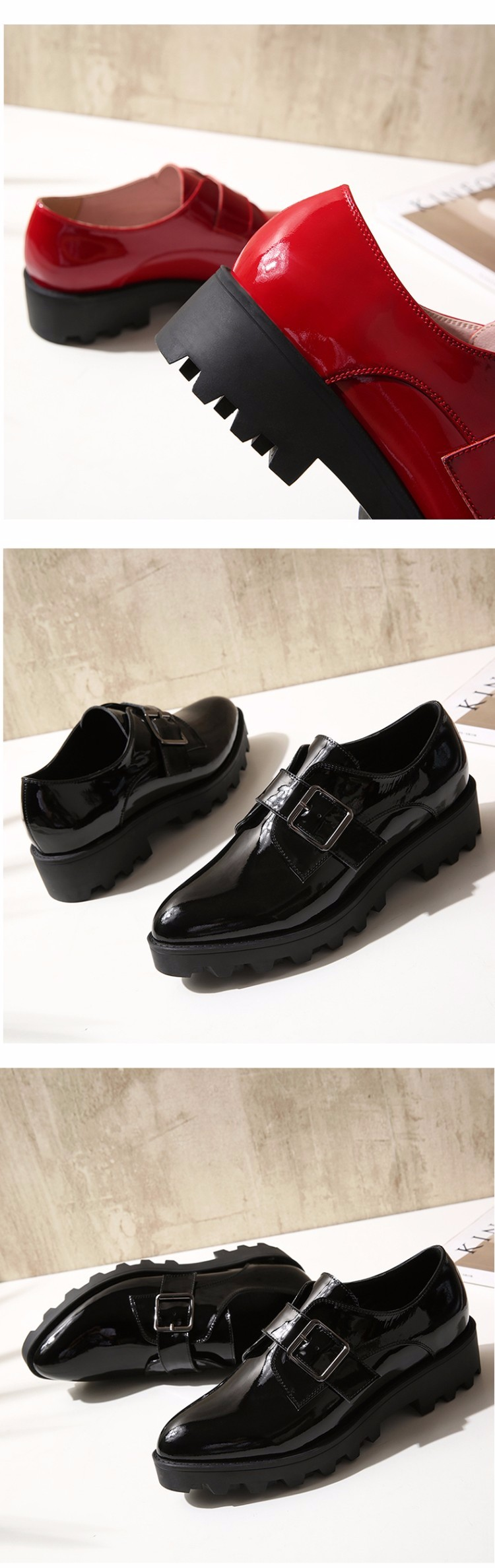 Patent leather Flat Oxford Shoes Woman Flats 2017 Fashion buckle pointed toe Brogue Oxfords Women Shoes moccasins 827-3