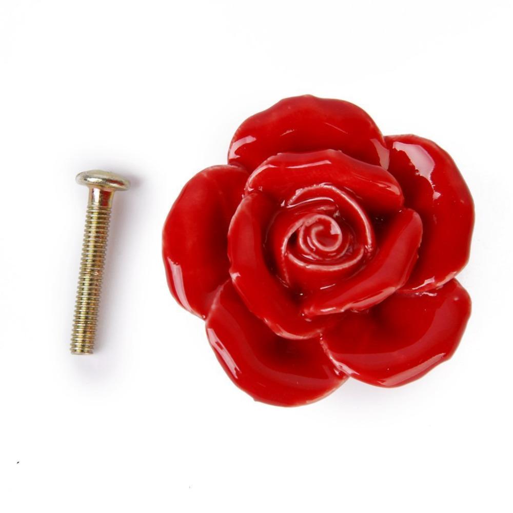 40mm Atique Rose Flower Glass Door Drawer Cabinet Furniture Pull Handle Knobs Screw Set<br><br>Aliexpress