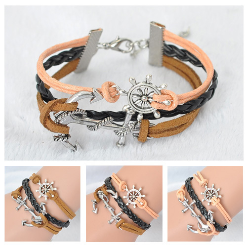 Factory Sale Jewelry Vintage Braided Rudder Charms Leather Bracelet Rope Bracelets Wrap Bangle - Rose Feng's store