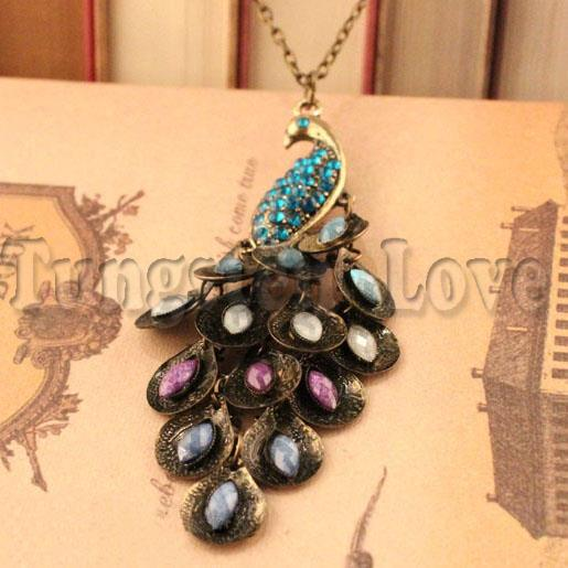 European and American trade-kind vintage jewelry shoot gorgeous retro Peacock Necklace For Women long necklace collares largos(China (Mainland))
