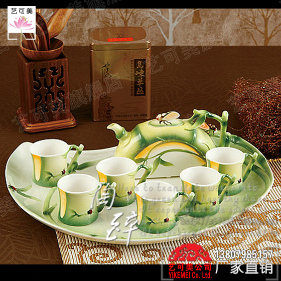 Cheap porcelain enamel bamboo Changle eight known kung fu tea set ceramic coffee cup tableware fashion