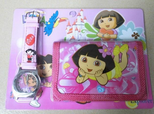 LOVELY Dora the Explorer Boots The Monkey Kids Watch & Money Purse Wallet 1pcs(China (Mainland))