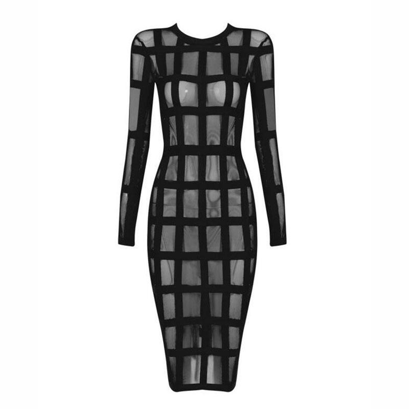 Free Shipping New Fashion 2016 Women's Sexy Mesh See Through Dress Long Sleeve Party Club Bandage Dress Black Red Apricot(China (Mainland))