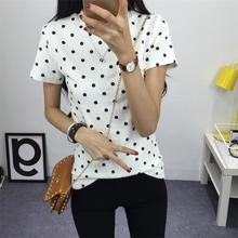 Buy Women's T-Shirt Summer Clothes Girls Tee Shirt O-neck Polka Dotted Printed Tshirt Short Tops Bottoming Tops for $5.13 in AliExpress store