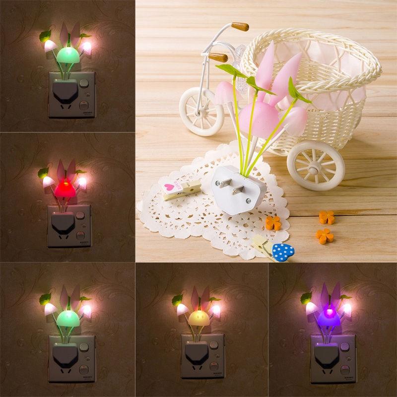 Romantic Colorful Sense Control LED Mushroom Night Light Bed Home Illumination Light Wall Living Room Bunny Ear Decorate Lamp(China (Mainland))