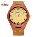 iBigboy Wooden Men Watches Natural Wood Japan Quartz Movement Watch Leather Strap Luxury Women Wristwatch Relogio