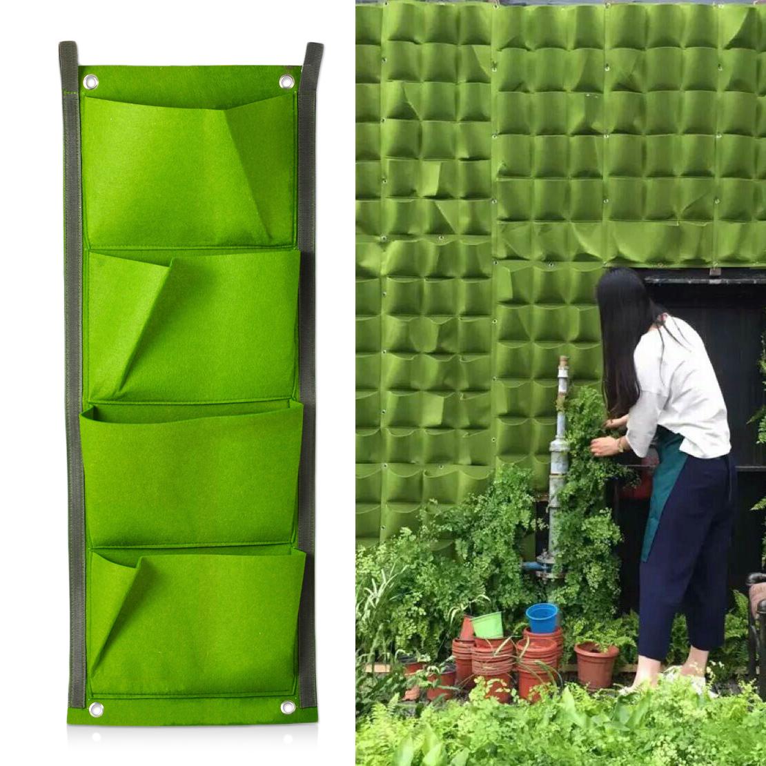 4 Pocket Green Felt Vertical Living Indoor Outdoor Hang Wall Balcony Herb  Garden Planter Bag Home