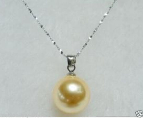 song voge gem nanJ0189 Beautiful 12mm Yellow shell pearl pendan necklace(China (Mainland))
