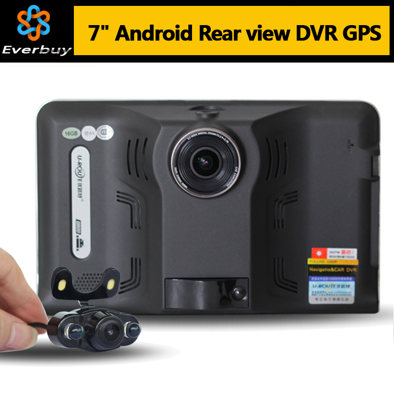 New 7 inch Android GPS Navigation rear view Full HD 1080P Car dvrs Truck vehicle gps Navigator AVIN WIFI Free map Built in 16GB(China (Mainland))