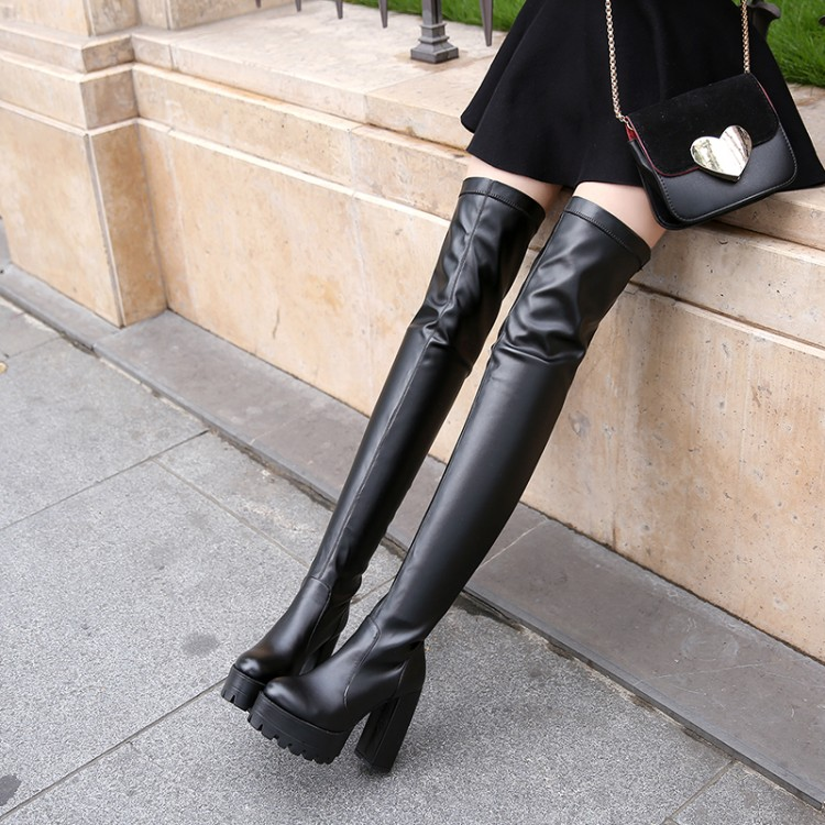 buy female over the knee boots thick heel. Black Bedroom Furniture Sets. Home Design Ideas