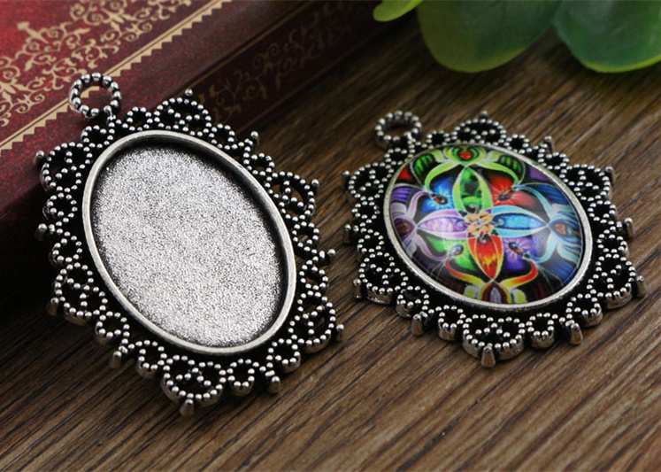 3pcs 18x25mm Inner Size Antique Silver Flowers Style Cameo Cabochon Base Setting Charms Pendant necklace findings (C2-23)(China (Mainland))