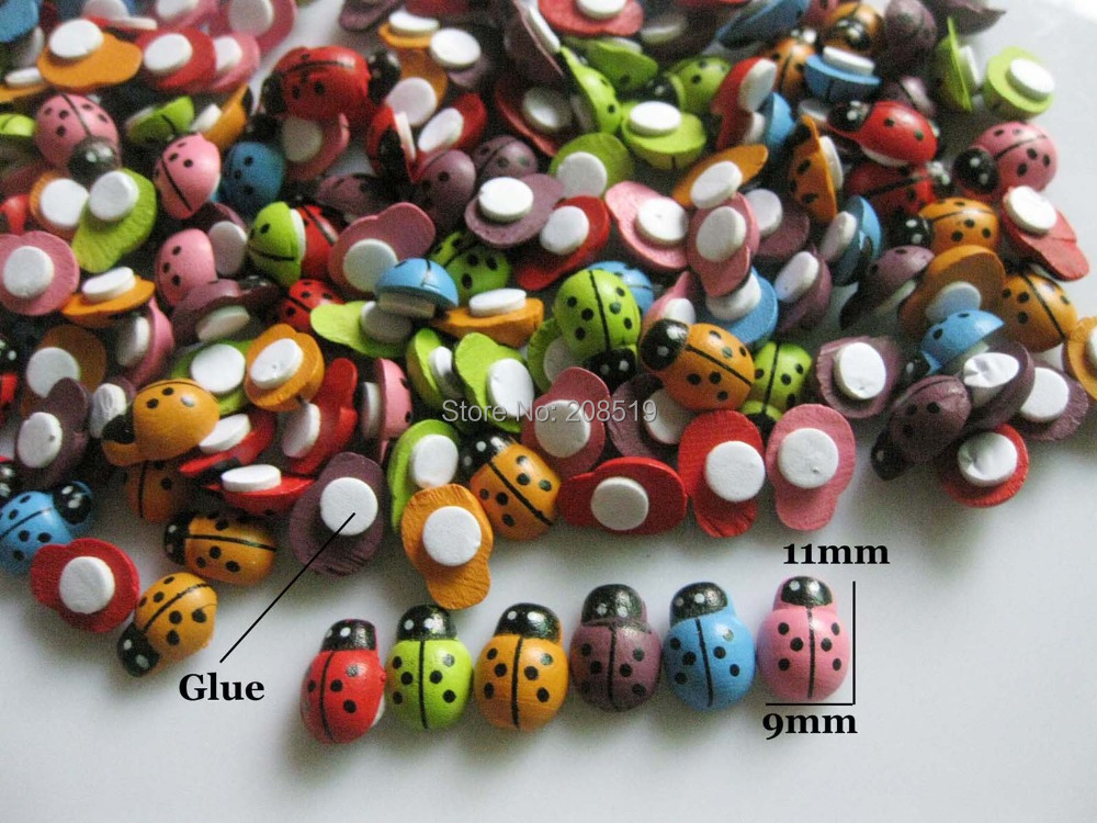 BJW0001 Back Glued DIY decorative Flatback Ladybug Buttons mix 150pcs 9mm*11mm Scrapbooking Findings(China (Mainland))