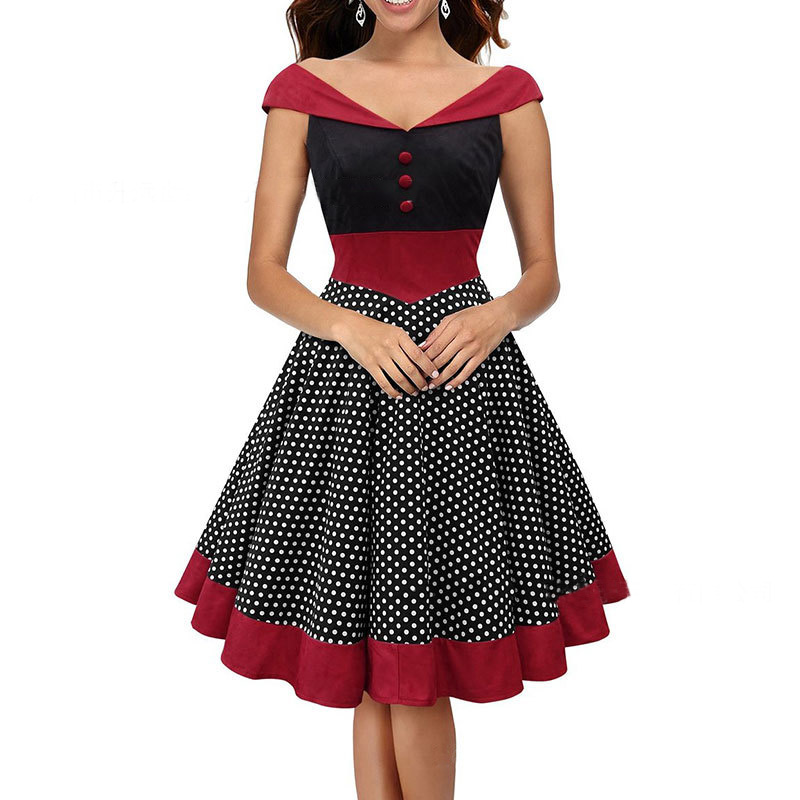 Womens retro sexy v neck polka dot dress vintage cap for Wedding dresses pin up style