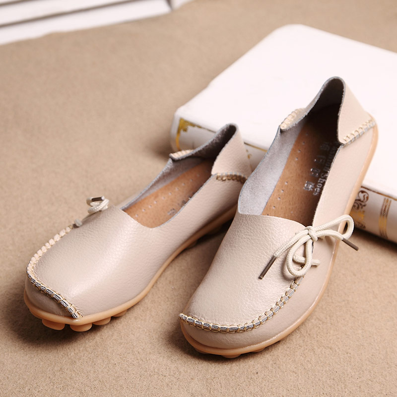 Hot Sale New Women Genuine Leather Shoes Moccasins Mother Loafers Comfortable Flats Female Driving Casual Footwear Size 35-42<br><br>Aliexpress