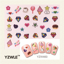 YZWLE Fashion Style 1 Sheets 3D Design Cute DIY Cartoon Colorful Diamonds Tip Nail Art Nail Sticker  Manicure Nail Tools(China (Mainland))