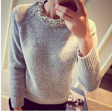 Loose Korean Knitted Women Sweater Beading O-Neck Solid Casual Slim Ladies Cashmere Sweater Pullover Spring Autumnn Winter 2016(China (Mainland))